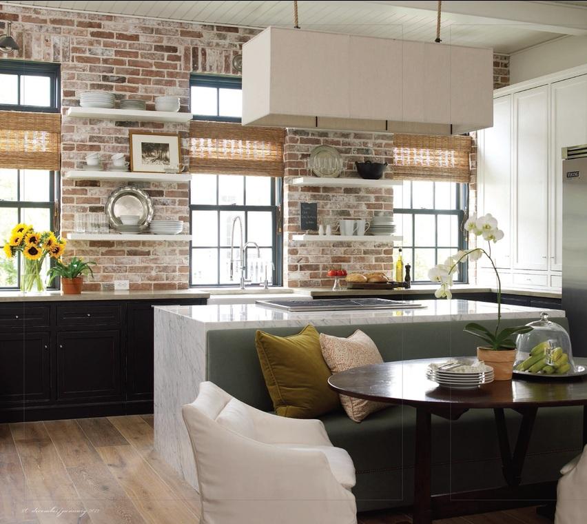 Декоративный кирпич в кухонном интерьере